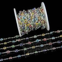6 7mm Colourful Glass Eye Shape Flat Round Beads Chains DIY Necklace,Plated Silver Wire Wrapped Rosary Chain Jewelry Supplies