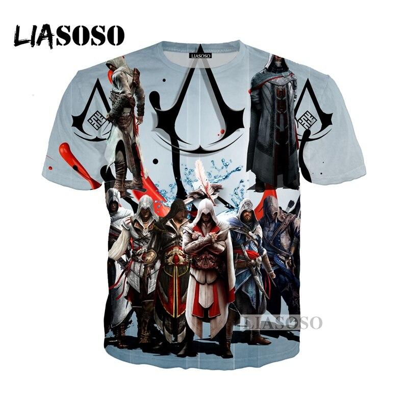 Galleria fotografica LIASOSO NEW Harajuku Hot <font><b>Assassins</b></font> <font><b>Creed</b></font> Gioco T Shirt Stampa 3D T-Shirt/Hoodie/Felpa Unisex <font><b>Black</b></font> <font><b>Flag</b></font> Tops t shirt G413