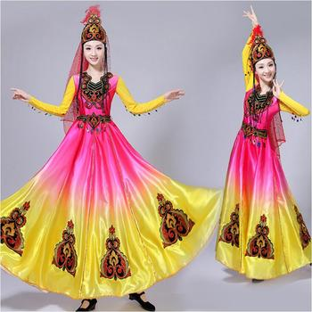 National style Chinese dance costumes Xinjiang Uygur long dress stage wear performance clothing big swing skirt adult women