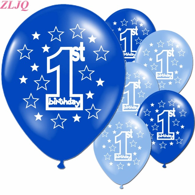 ZLJQ 20pcs Happy Birthday Decorations Pink Blue Number 1 Balloons For Baby Boy Girl Latex Baloons