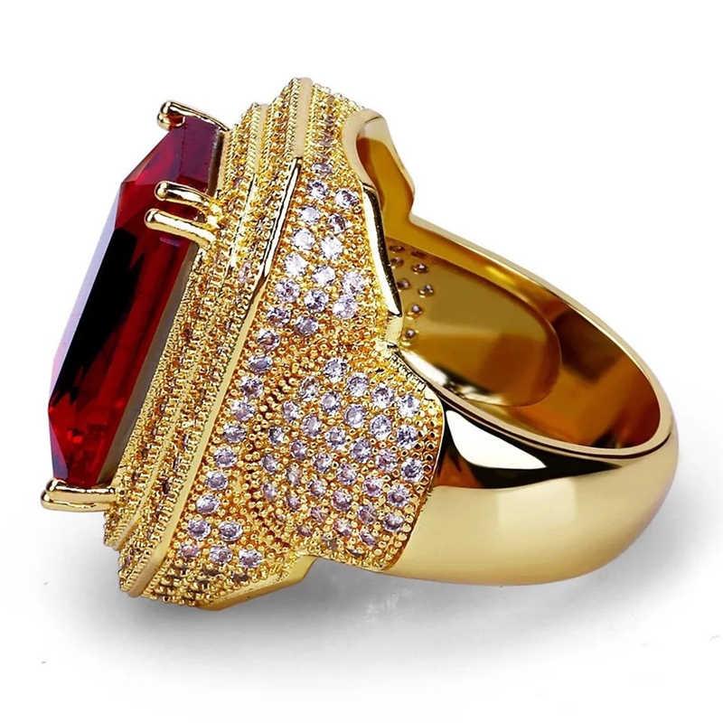 Iced Out Hip Hop แหวน Gold Cubic Zircon สีแดงหินแหวนบุคลิกภาพแฟชั่นผู้ชายผู้หญิงเครื่องประดับ Lover ของขวัญ Z3C173