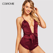b1bb7ef6e828 COLROVIE Navy Solid Criss Cross Lace Bow Romper Teddy Lingerie Bodysuit  Women Burgundy Sexy Onesies For