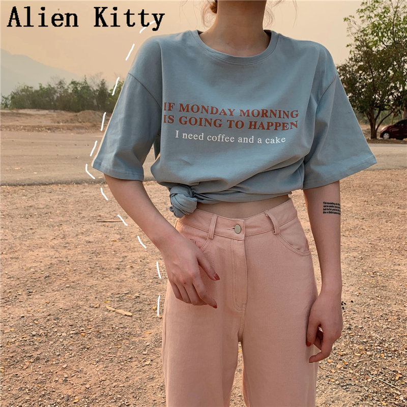 Alien Kitty Summer Short Sleeves Casual Vintage Letters Fashion Simple All Match Slim Loose O-Neck Basic T-shirts 5 Colors