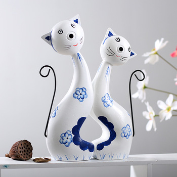 Modern Cat Model Figurines Wooden Craft Ornament Miniatures Artificial Resin Crafts New Year Home Decor Accessories Craft