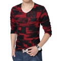 2016 New T shirt Men Brand Cotton Men's Long Sleeve T-shirt Mesh V-neck Gauze Breathable Tops Tees Men Plus Size 3XL 4XL 5XL
