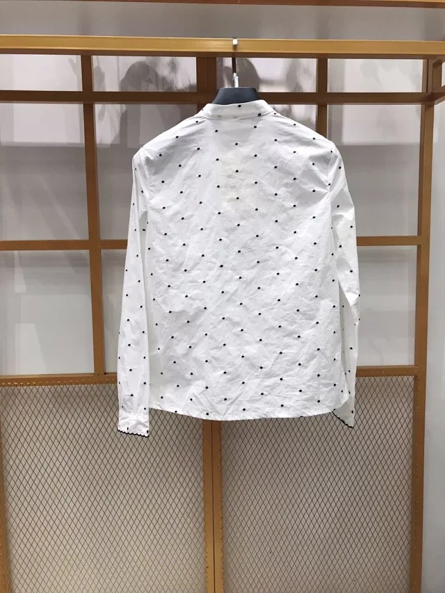 2020 Autumn Winter New Women Shirt Retro style white ladies blouse Ruffled design Dot long-sleeved shirts Femme Blouses and Tops