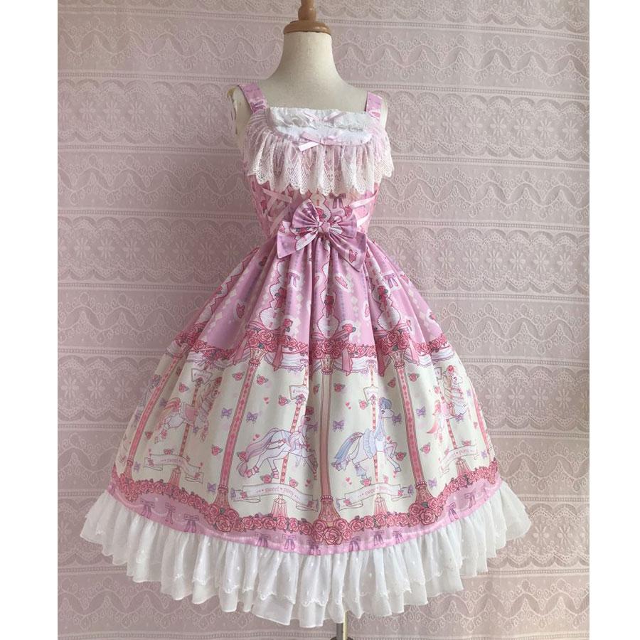 Rose & Karussell Gedruckt Süße Lolita Kleid Ärmel Midi Chiffon Kleid durch Yiliya ~ Pre auftrag-in Lolita-Kleider aus Neuheiten und Spezialanwendung bei AliExpress - 11.11_Doppel-11Tag der Singles 1