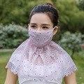 2016 Novos 3 pcs Bonito Rendas de Algodão Boca Muffle Rosto Máscara, mulheres Menina Protetor Solar Ciclismo Rosto Boca Máscara de Gaze saudável Máscaras Contra Poeira
