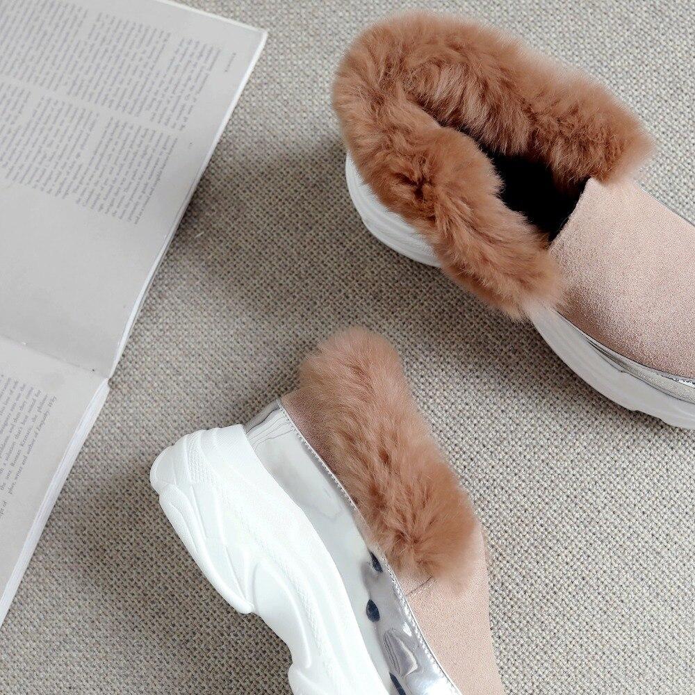 Zapatillas red Genuino Alpargatas Invierno La Mujeres Deporte Cuero pink Slip Conejo Plataforma Cómodas Mocasines Gamuza Pisos Las De Casuales Zapatos Black on Piel Caliente xpawSgx