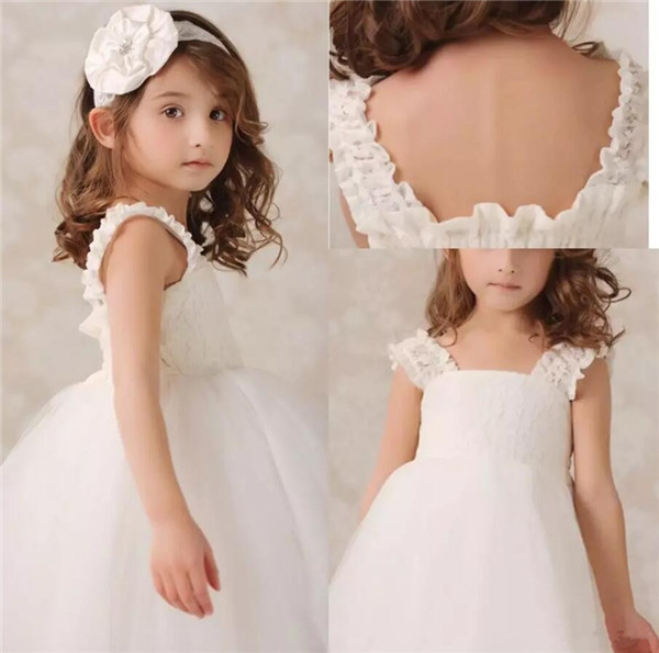 2019 Flower Girls Dresses White Lace Straps Tulle Floor Length Girls Birthday Gown Cheap Little Girls Dress White Ivory2019 Flower Girls Dresses White Lace Straps Tulle Floor Length Girls Birthday Gown Cheap Little Girls Dress White Ivory