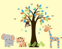 Jungle Trees Safari Animals Reusable Wall Decals Baby Nursery Decor 83 x 97