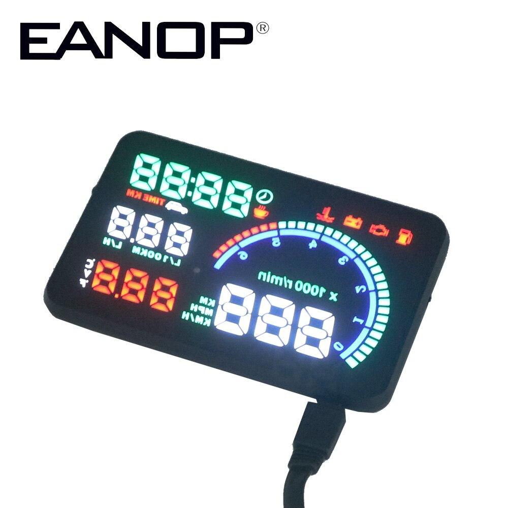 EANOP 5.5X HUD Headup Display Auto Snelheid Projector Dashboard Voorruit Projector Head OBD2 Brandstof Overspeed KM/H, RPM Klok