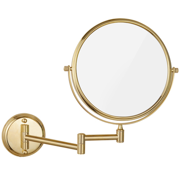"""GuRun Hotel Wall Mount Bathroom Magnifying Makeup Mirrors Adjustable Double sided with Magnification and Regular, Gold finish 8"""""""
