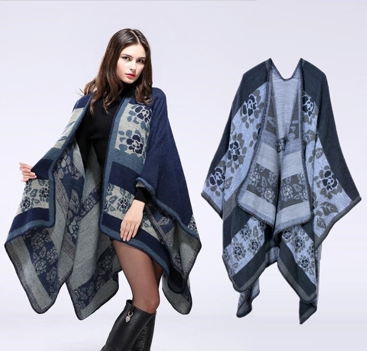 Women's Autumn/Winter Poncho Vintage Blanket Women Lady Knit Shawl Cape Cashmere Long Scarf Poncho Cardigans H191