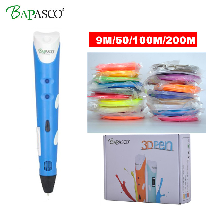 Original BAPASCO RP-100A 3d pen Add Free ABS Filament Safe Drawing 3D Doodler Gift For Kids Intelligent Panting Printing 3D Pens