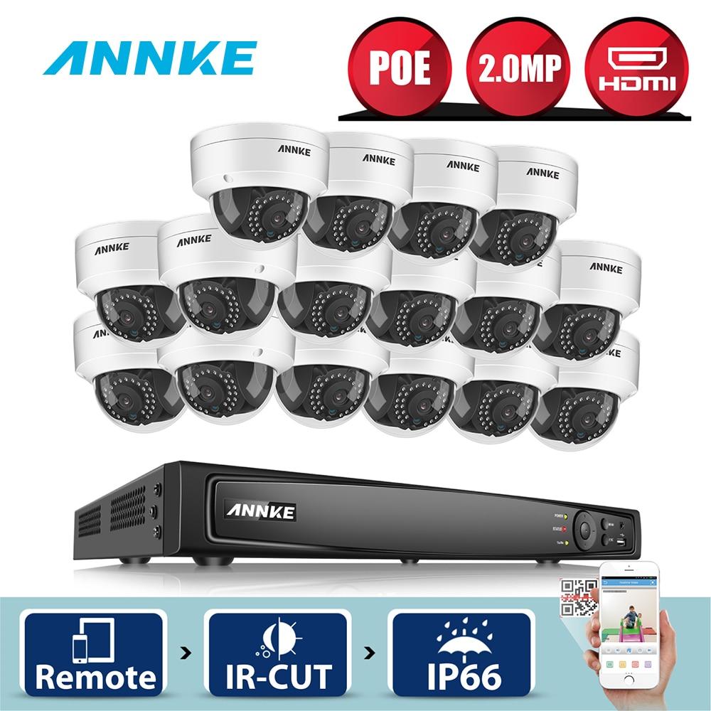 ANNKE 16CH 6MP POE NVR 16 pcs 2MP En Plein Air Intempéries Recherche Intelligente IR Accueil de Sécurité Système de Caméra CCTV Vidéo Surveillance kit