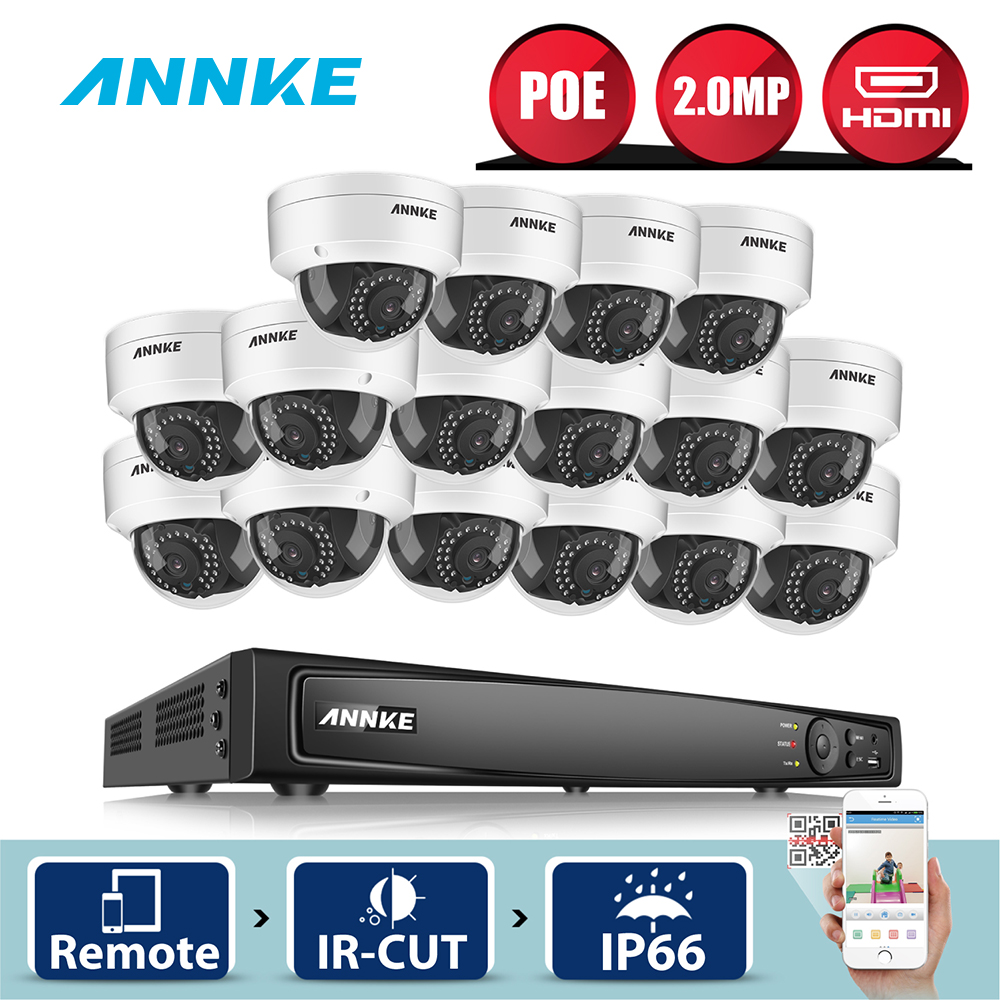 ANNKE 16CH 6MP POE NVR 16 pièces 2MP extérieur résistant aux intempéries recherche intelligente IR système de caméra de sécurité à domicile CCTV Kit de Surveillance vidéo