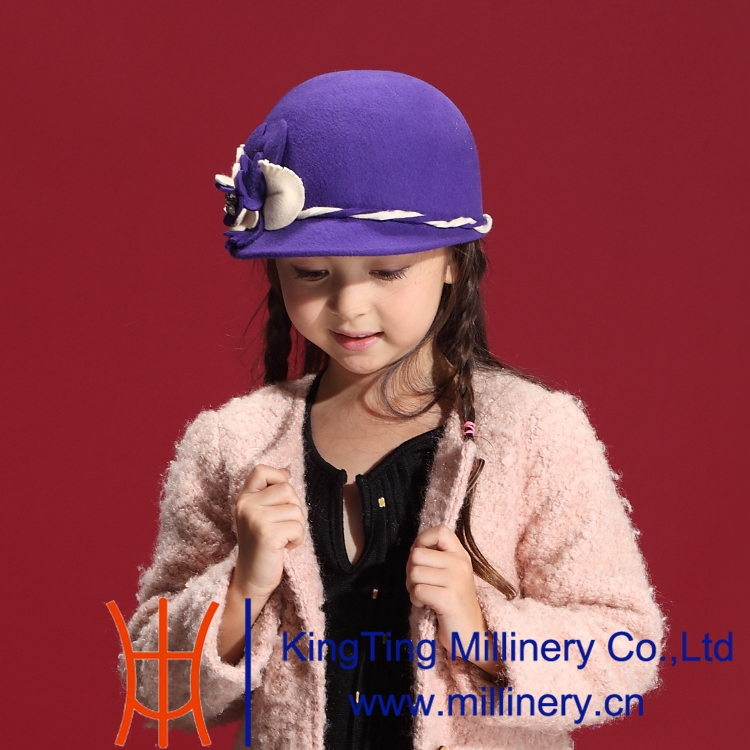 Free Shipping Autumn and Winter Children Girl Fashion Dress Wool Felt Hat Natural 100% Wool Duck Small Plait Flower Lace