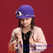 Бесплатная Доставка Осенью и Зимой Дети Девушка Мода Платье Шерсть Фетровая Шляпа Природный 100% Шерсть Утка Небольшой Косу Цветок Кружева