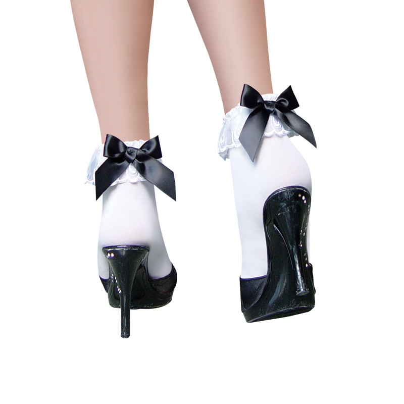 MOONIGHT Fashion Nice Women's White Black Color with Bow Ankle Socks Cute Bow Socks