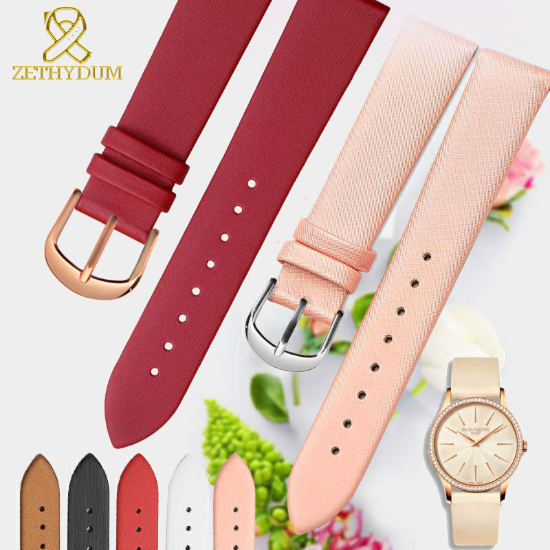 Genuine Leather Watch Bracelet 10 12 14 16 18 20mm Womens Students Fashion Watchband Wristwatches Band Pink Color Simple Strap