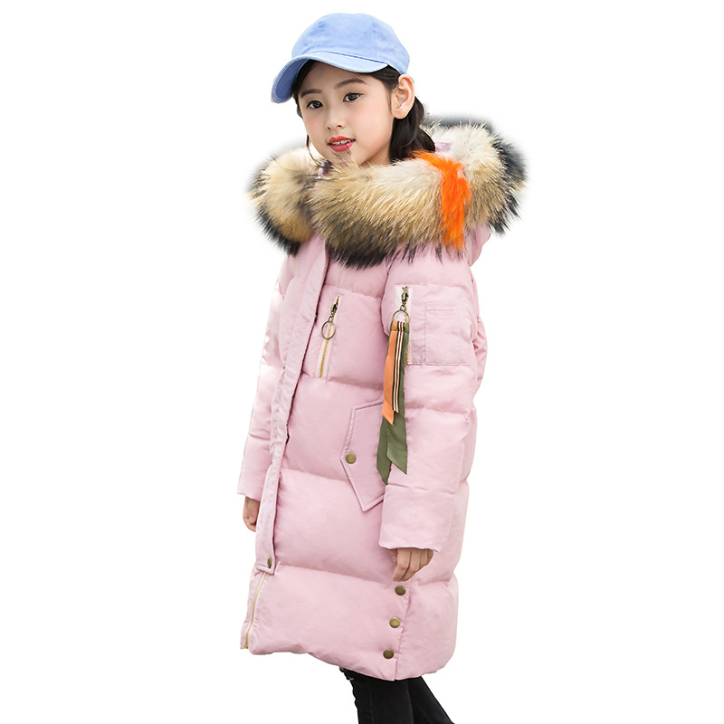 Children Warm Windproof Down Parkas Girls Cotton Hooded Long Snow Coats Boys Winter Thicken Overcoat Outerwear AA51890 winter keep warm thicken women s cotton slim long coat hooded parka jackets coats white overcoat plus size down parkas clothes