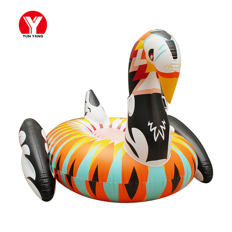 190cm Inflatable Swam Float Colorful Inflatable Swan Pool Float Giant Swan Inflatable Swimming Ring Toys for Adults