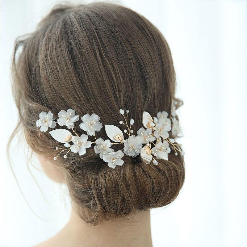 Délicat simulé perle tissu fleur mariage cheveux accessoires Barrettes pour femmes cadeau élégant mariée cheveux bijoux