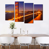 Golden Gate Bridge Painting Print Large Canvas Wall Art California City Night Beautiful Landscape Pictures 4