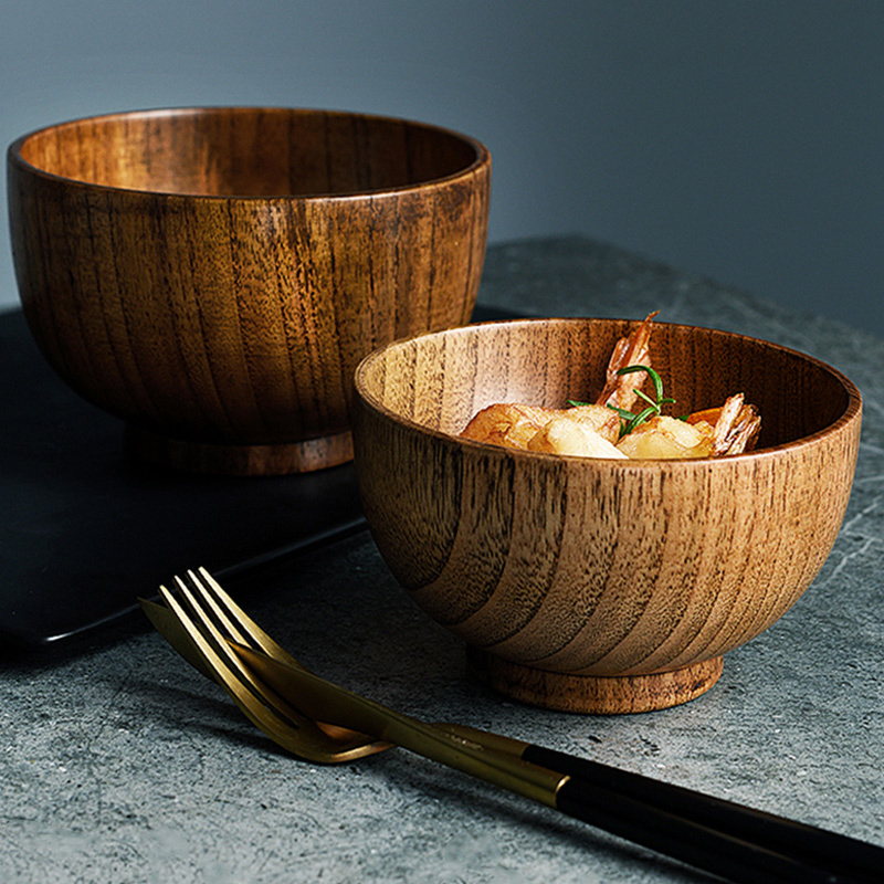 Japanese Style Wooden Bowl 3 Sizes Soup Salad Rice Bowl Food Container Dining Serving Bowl Wooden Kitchen Utensils Kids Tableware (4)