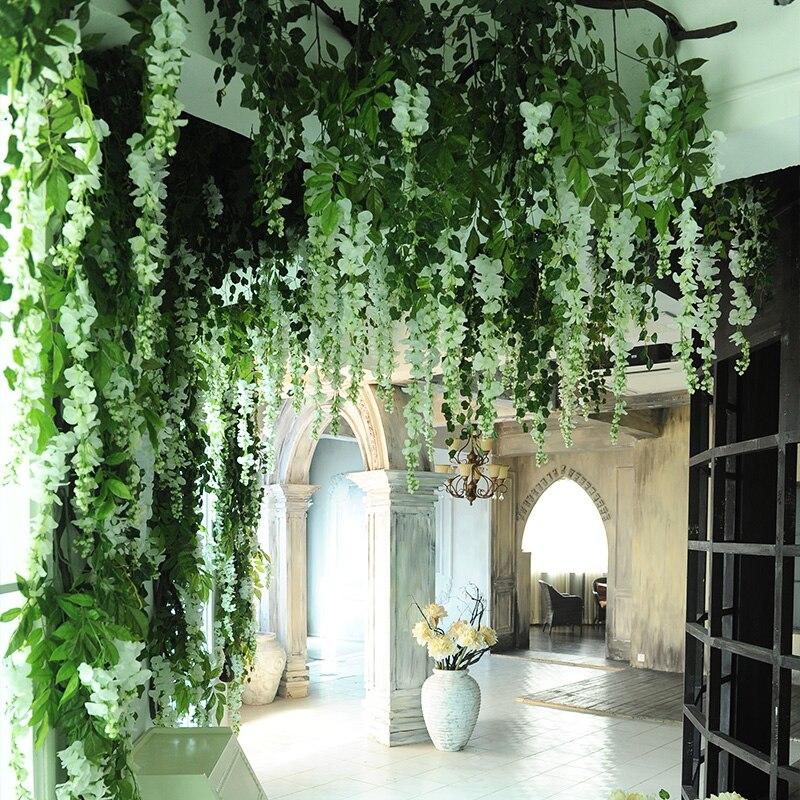 200pcs/lot Wholesale Artificial Flower Vine Wisteria ... on Vine Decor Ideas  id=94389