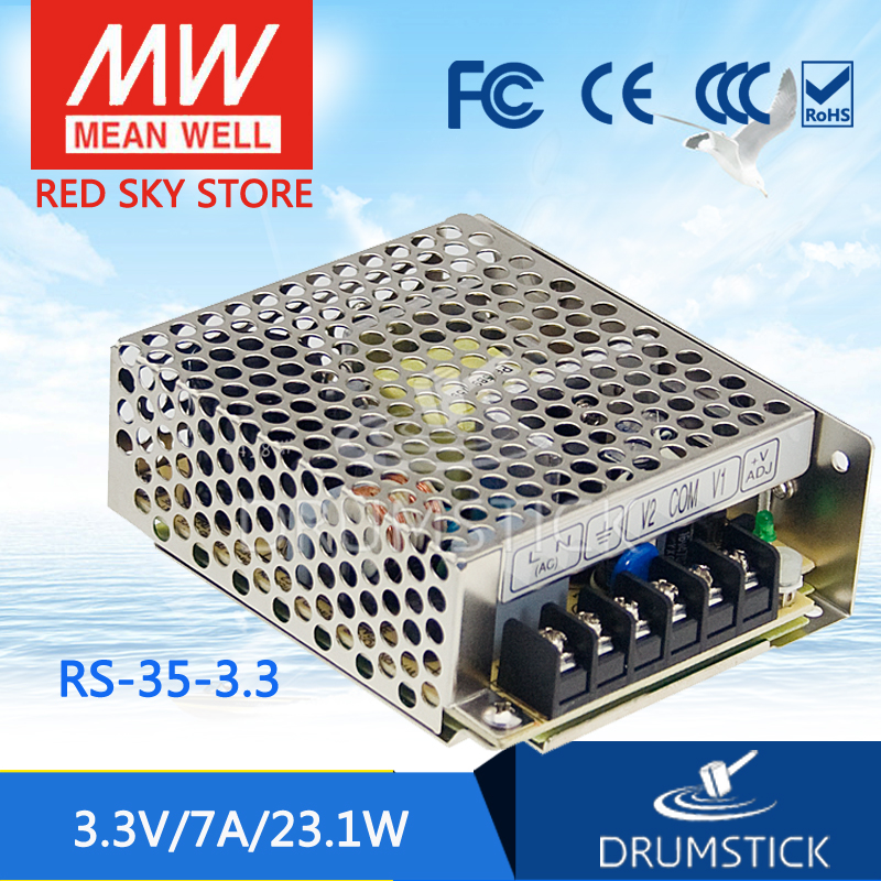 Selling Hot MEAN WELL original RS-35-3.3 3.3V 7A meanwell RS-35 3.3V 23.1W Single Output Switching Power Supply best selling mean well rs 35 15 15v 2 4a meanwell rs 35 15v 36w single output switching power supply