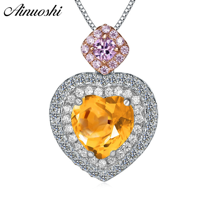 AINUOSHI Natural Citrine Heart Pendant 925 Sterling Silver Chain 2.5ct Cushion Cut Gemstone Halo Pendant Necklace Women Jewelry AINUOSHI Natural Citrine Heart Pendant 925 Sterling Silver Chain 2.5ct Cushion Cut Gemstone Halo Pendant Necklace Women Jewelry
