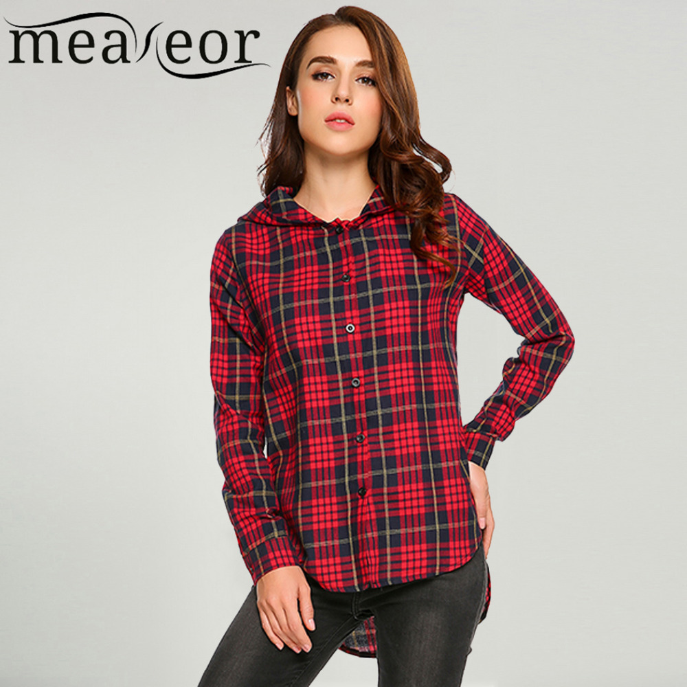 Buy meaneor women casual hooded long for Plaid button down shirts for women