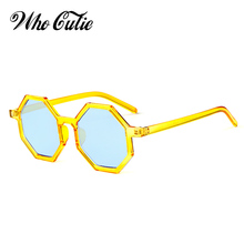 Que lindo Vintage 2018 hexagonal gafas de sol mujer marca diseñador marco  amarillo tinte azul de moda Retro 90 S gafas de sol to. 1904dd36e9d2