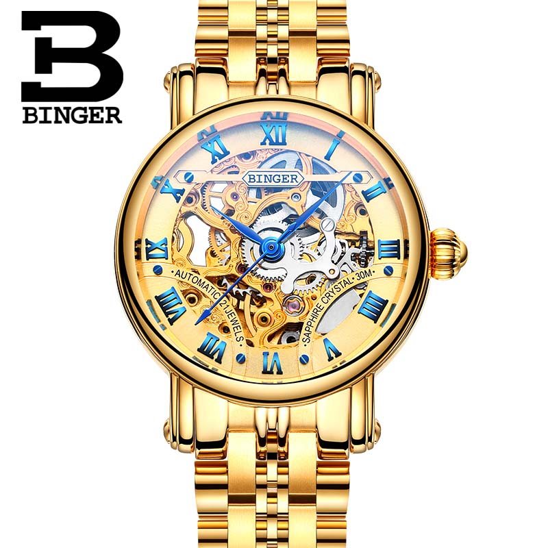 Couple Watch Casual Women Brand Wristwatches Mechanical Watch Automatic Skeleton Watches Full Gold Steel Strap BINGER B-5066