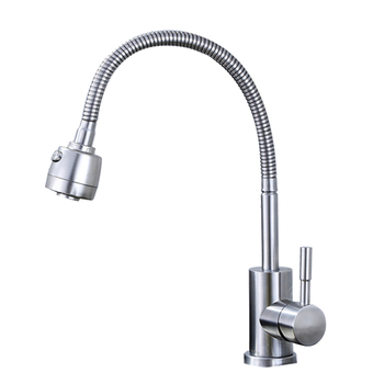 Wash Basin Water Tap Kitchen Faucet Universal Rotatable Single Cold Water Faucet Single Holder Single Hole Stainless Steel