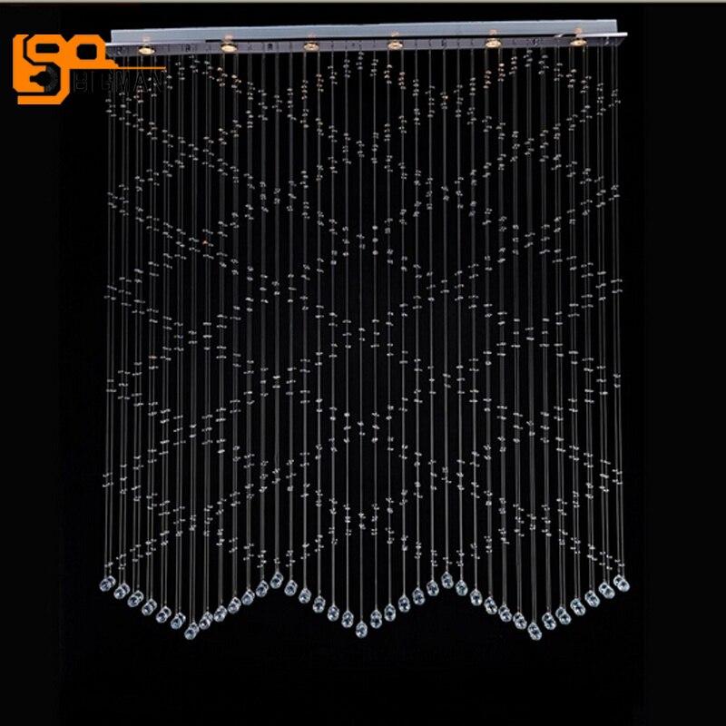 Nouveau design pendentif en cristal pour salle à manger moderne rideau lampe lustre LED éclairage intérieur
