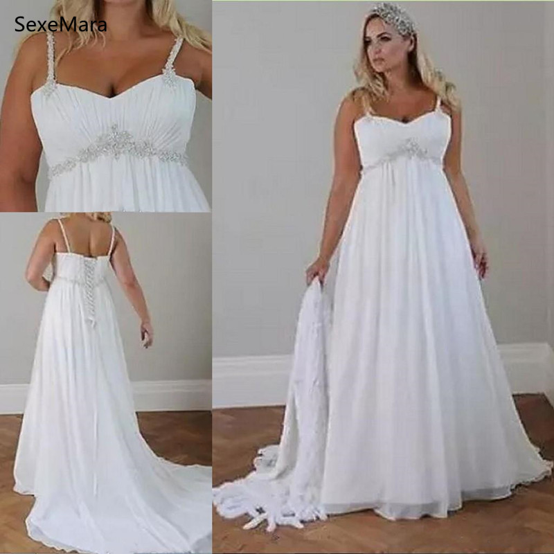 Crystals Plus Size Beach Wedding Dresses Corset Lace Up Back Sweetheart Chiffon Floor Length Empire Bridal Gown Custom Made Size