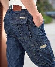 Neue 2015 mann Jeans Männer Hosen Blau gerade Baumwolle Male Denim Marke Jeans Mehr tasche overalls
