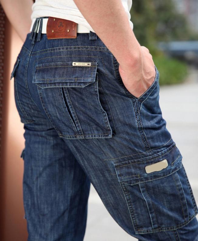 New 2017 man Jeans Men Pants Blue straight Cotton Male Denim Brand Jeans More pocket overalls