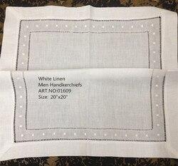 Mouchoirs en lin blanc et Vintage 20'x20   Mouchoirs à la mode unisexes et en lin blanc et Vintage, brodés à points, pour Occasions, 12 pièces/lot