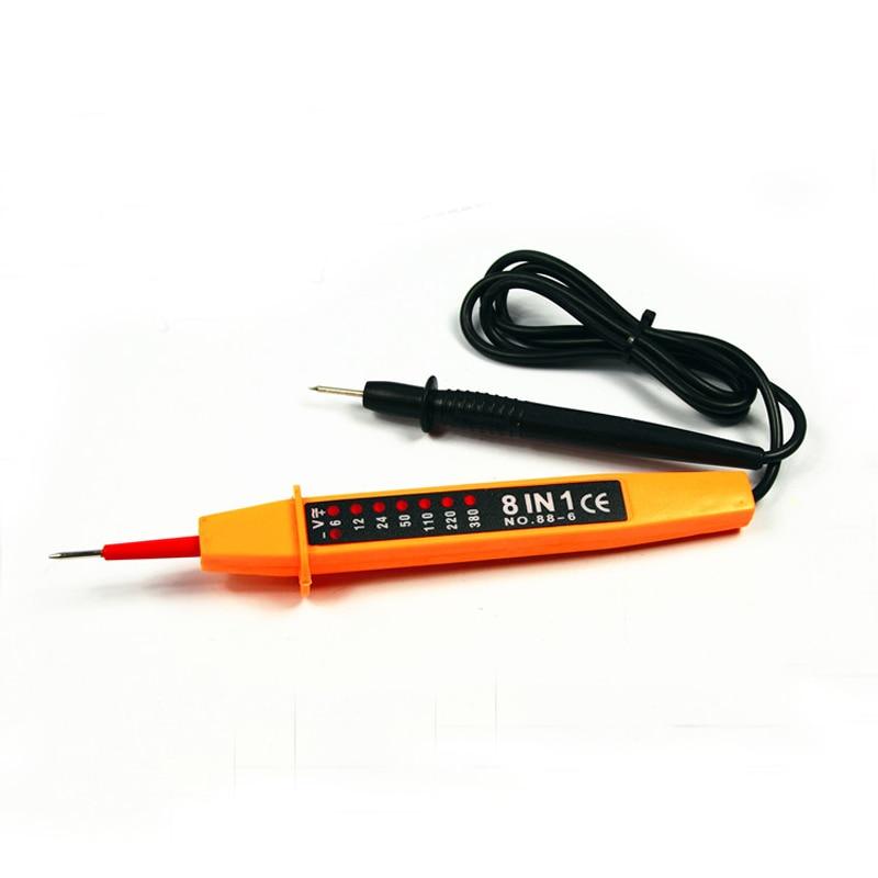 AC stejnosměrné napětí 6 ~ 500V auto elektrické zkušební tužka psaný světelný detektor 8 v 1 a 3 v 1