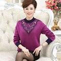 40-50-year-old среднего возраста осенью и зимой теплый свитер большой размер печати воротник среднего возраста матери платье