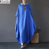 ZANZEA L 5XL Women Ladies Oversized Loose Crewneck Baggy Cotton Swing Maxi Long Casual Shirt Dress