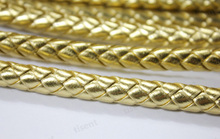 ФОТО 7mm/8mm/10mm diameter round gold braided pu faux leather strap