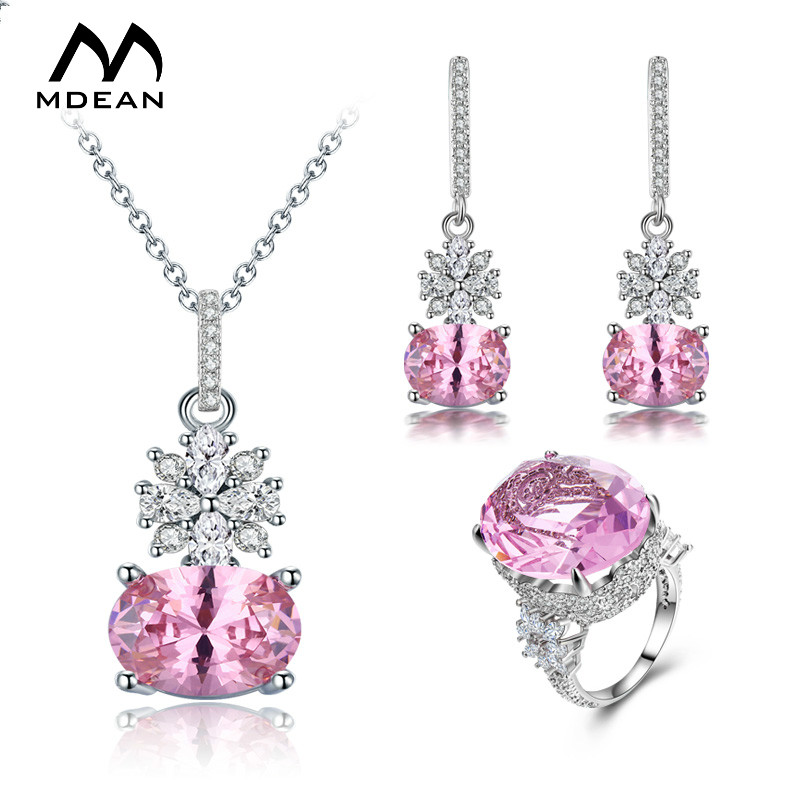MDEAN White Gold Color Jewelry Sets for Women Wedding Jewelry Engagement Fashion Accessories Pink AAA Zircon Jewelry Sets