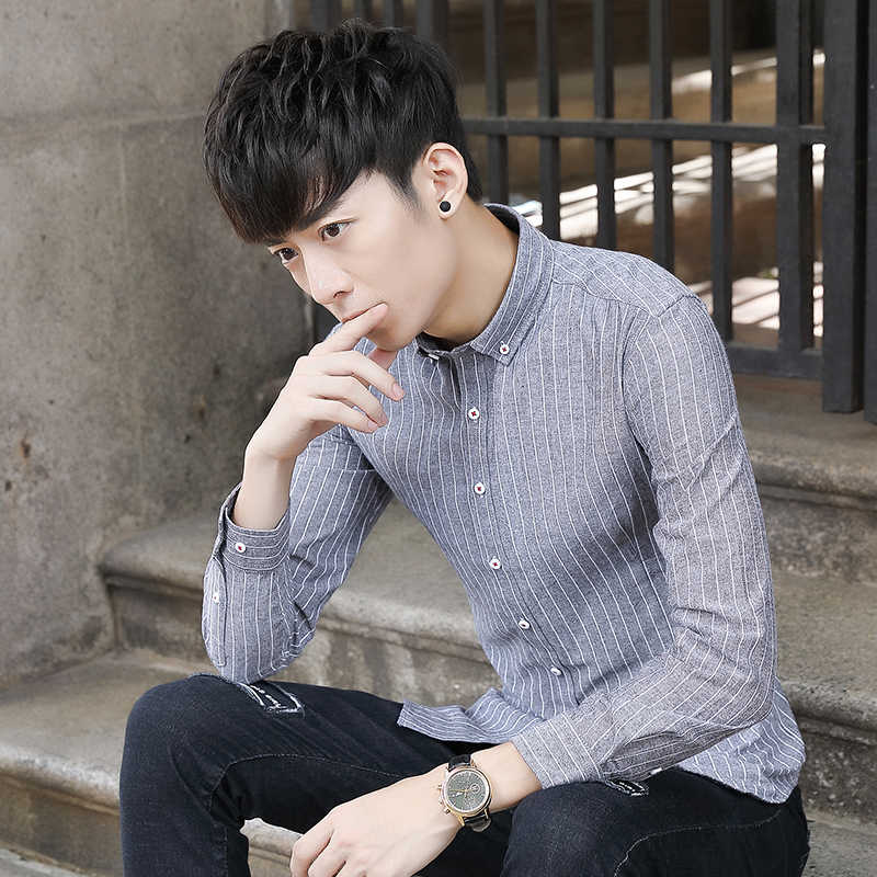 Рубашка с длинными рукавами Мужская в полоску Молодежная саморазвитие без железа Студенческая тренд летние Джокер простые мужские рубашки