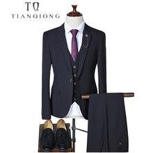 TIAN QIONG  Slim Fit Men Suits For Wedding One Button Black,Blue,Gray,Khaki Mens Formal Suits Spring Autumn 3 Piece Suit QT288