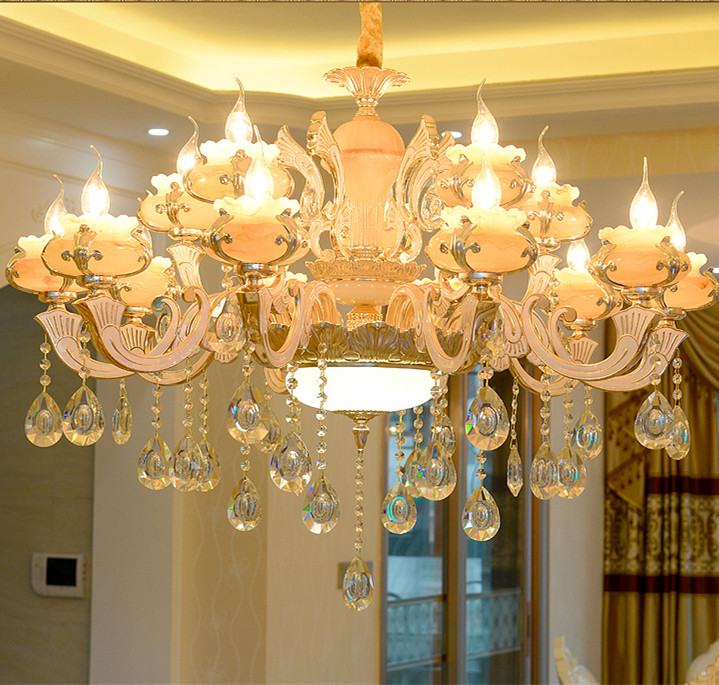 Parlor Extra Large Chandeliers Crystal Lighting Jade Stone Romantic Big Staircase Foyer Living Room Chandelier Led